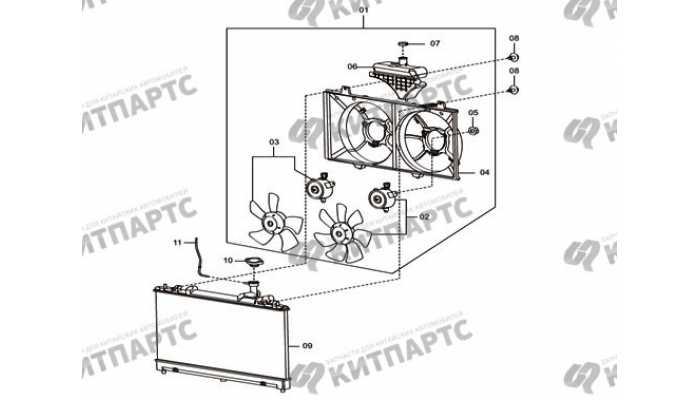 Радиатор охлаждения и вентилятор FAW Besturn X80