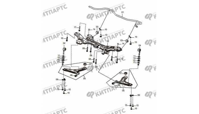 Подрамник, передний стабилизатор и рычаги (АКПП) FAW Oley