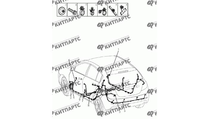 Жгут проводов нижний (хетчбэк) Geely Emgrand (EC7)