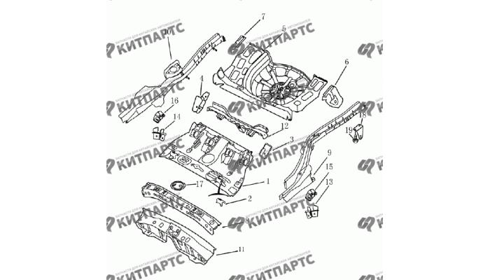 Панель пола задняя (хетчбэк) Geely Emgrand (EC7)