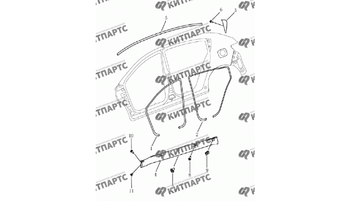 Накладки кузова (хетчбэк) Geely Emgrand (EC7)