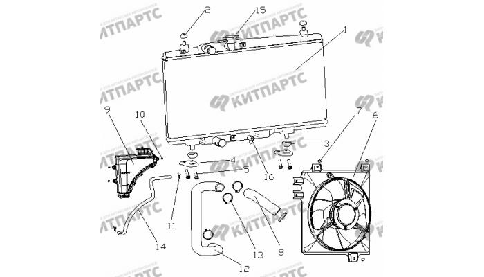 Радиатор охлаждения (МКПП / радиатор сзади) Geely Otaka (CK)